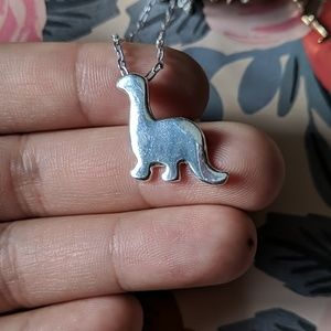 Nwot silver dinosaur dainty charm necklace